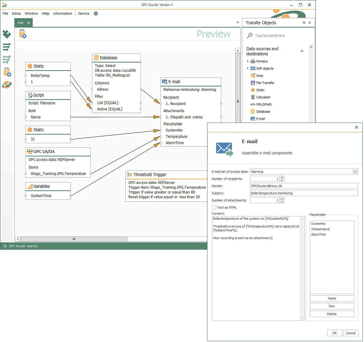 In this example, data is loaded from OPC UA with the OPC UA Client Plug-in and from a Microsoft SQL database with the Microsoft SQL Plug-in. They are supplemented by variables, constants and a file as an attachment. The file for the attachment is loaded with the script function from the OPC Router Basic Plug-in. All data is finally written into the email template and the email for the alert is created. In this example, the email is sent when an OPC trigger is triggered, which checks the data point of a PLC for an alarm condition.